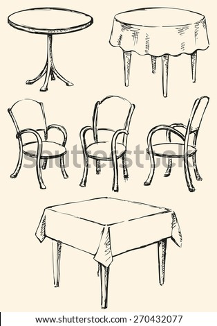 Different cute chairs and tables isolated on white. Used for celebration in cafeteria or restaurant. Vector monochrome freehand ink drawn background sketchy in art scribble antique style pen on paper - stock vector