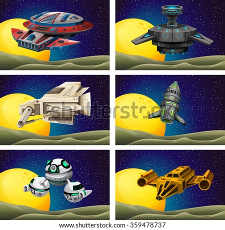 Different design of spaceship in the space illustration - stock vector