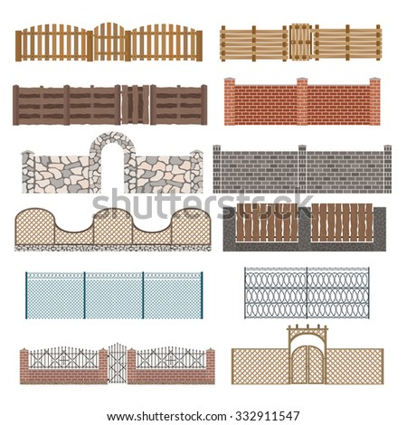 Different designs of fences and gates isolated on a white background. Fences and gates illustration. Fences and gates vector isolated. Wooden fence, metal fence, stone fence. Fence house buildings - stock vector