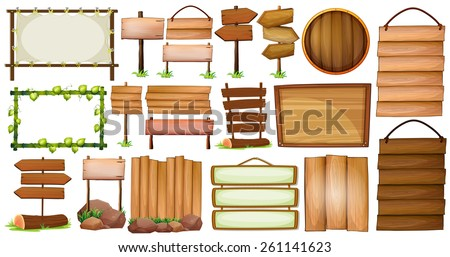 Different designs of wooden frames and signs - stock vector