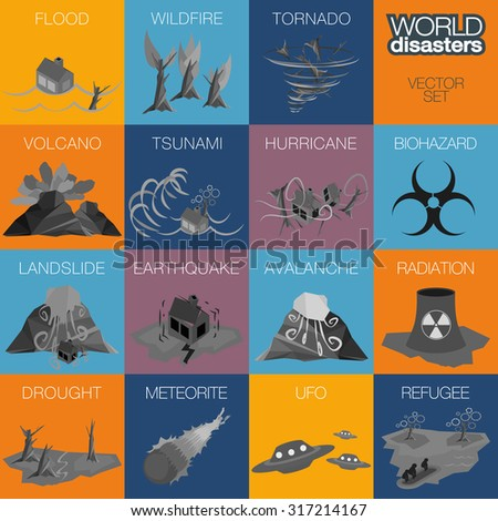 Different disasters icons. Flood, wildfire, tornado, hurricane, volcano, tsunami, landslide, earthquake, avalanche, biohazard, radiation, ufo, refugees, and drought icons. - stock vector