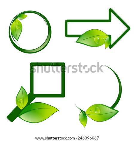Different Eco Label Signs With Green Leaves Over White Background - stock vector