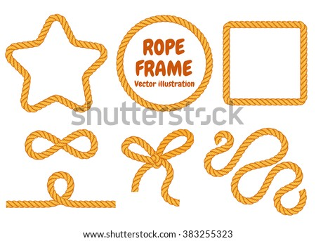 Different frame ropes. Top view. Vector illustration. Isolated on white background. Set - stock vector
