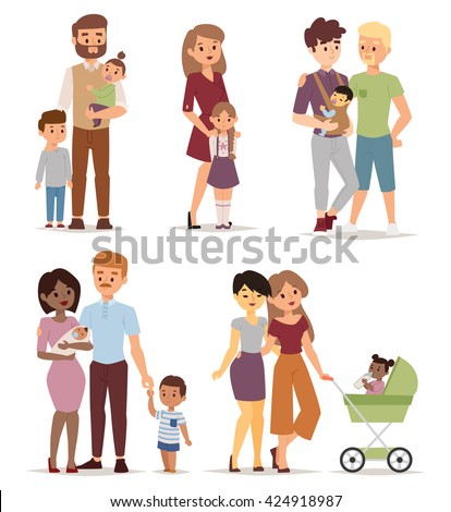 Different gay family, different kind of families. Different family special needs children and different family blended couple. Different family lifestyle baby husband kid and friendship parents set. - stock vector