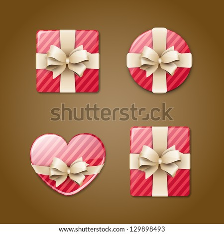 Different gift boxes icons - stock vector