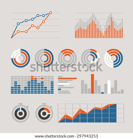Different graphic business ratings and charts. infographic elements - stock vector