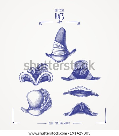 Different hats - stock vector