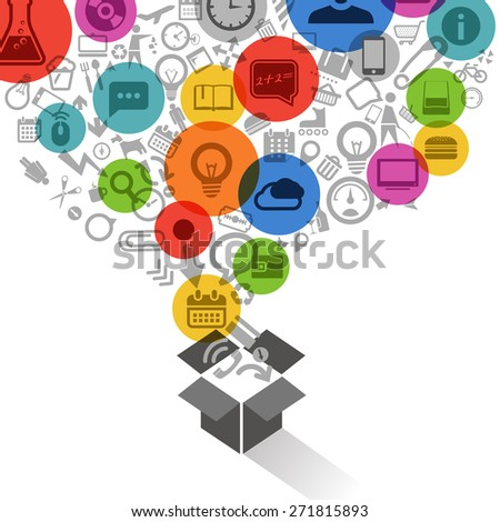 Different icons flows into the box - stock vector