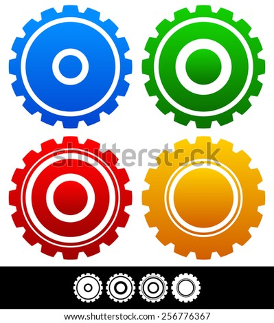 Different isolated shapes or silhouettes of gears, cogwheels, gearwheels, cogs. Different colors, different geometry. - stock vector