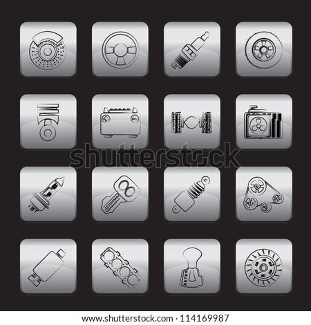Different kind of car parts icons - vector icon set - stock vector