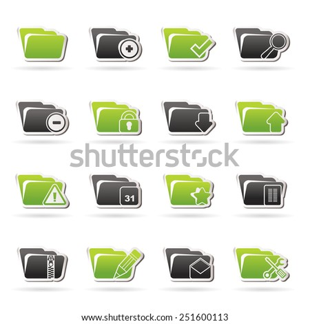 Different kind of folder icons - vector icon set - stock vector