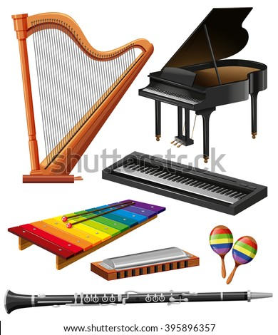 Different kind of musical instruments illustration - stock vector