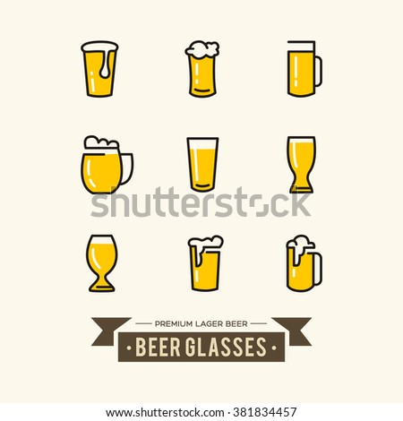 Different kinds of beer glasses icons set with pulled Beers. Vector Illustration, eps10, contains transparencies. - stock vector