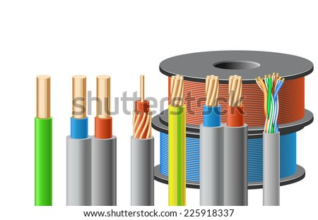 Different kinds of cables are on white background. - stock vector