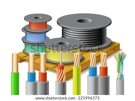 Different kinds of cables are on wooden pallet on white background. - stock vector