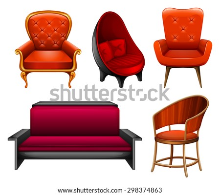 Different kinds of chairs in red stock vector