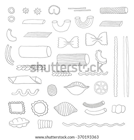 Different kinds of Italian pasta. Hand drawn outlined pasta. Farfalle, fusilli, cannelloni, penne rigate, ragatoni, ravioli, linguine, macheroni. Doodle pasta isolated on white background. - stock vector