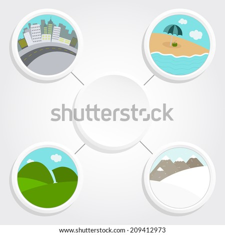 Different landscapes in a circular and white icon around a copy space to write text. Different landscapes with copy space - stock vector