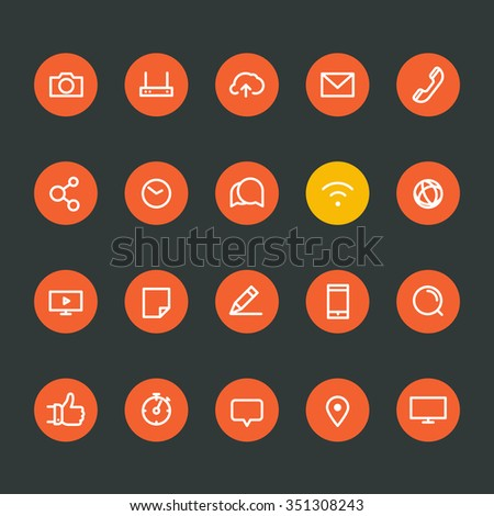Different line style icons on color circles set. Social media - stock vector