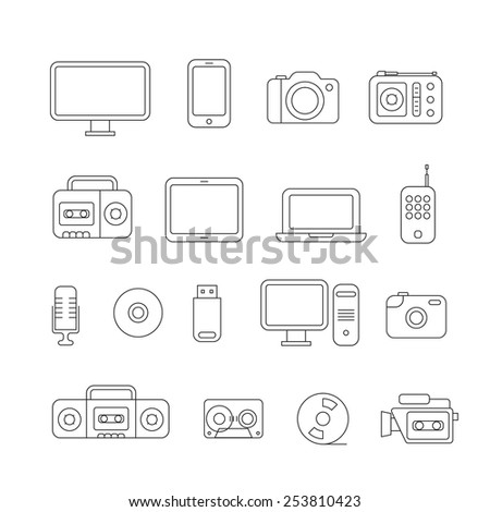 Different media devices collection. Design elements - stock vector