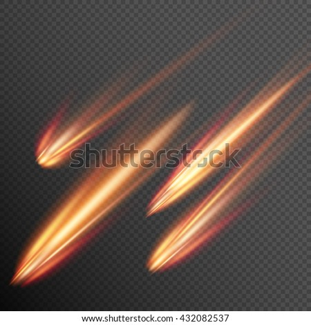 Different meteors, comets and fireballs. EPS 10 vector file included - stock vector