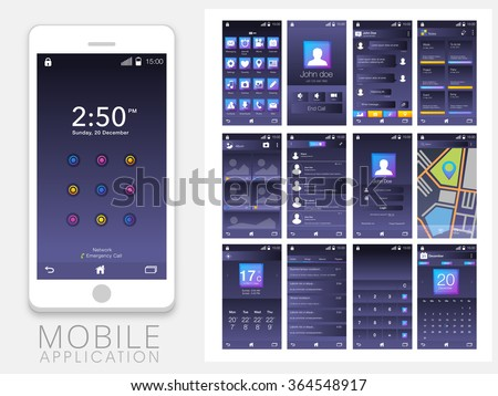 Different Mobile Apps Screens User Interface kit including Calling, Messaging, Notes, Album, Login, Map, Weather, Calculator and Calendar Screens with different flat web icons for Responsive Website. - stock vector
