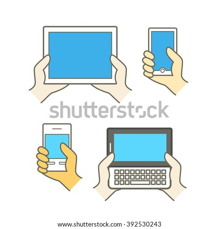 Different modern mobile gadgets. Lineart color collection - stock vector