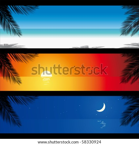 Different moments in the day of the same tropical beach. - stock vector
