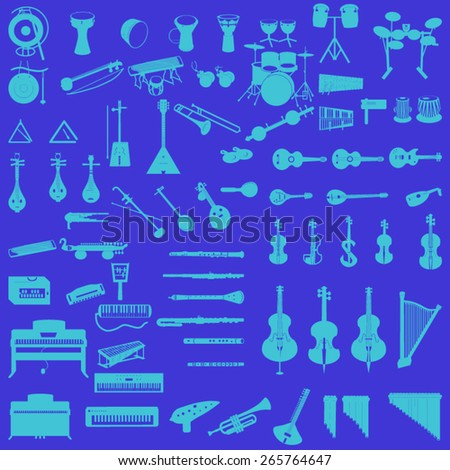 different music instruments in dark blue background - stock vector