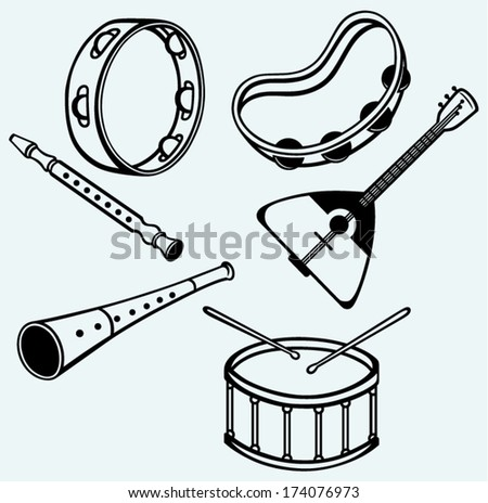Different music instruments isolated on blue background - stock vector