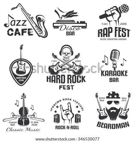 different music styles retro emblems and bages, rock, jazz, rap and disco labels set - stock vector