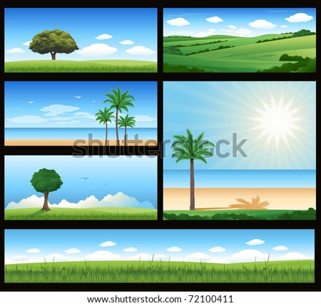 Different nature landscape illustration - stock vector