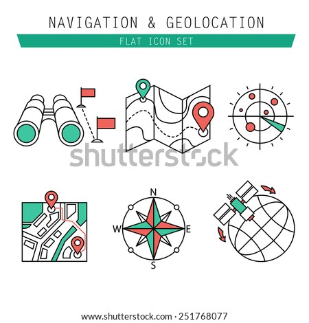 Different navigation icons set with rounded corners. Design elements linen - stock vector