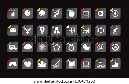 Different paper buttons collection - stock vector