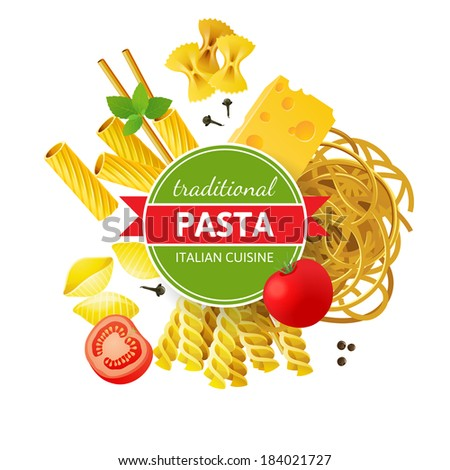 Different pasta types, tomatoes, mint and spices over white background - stock vector