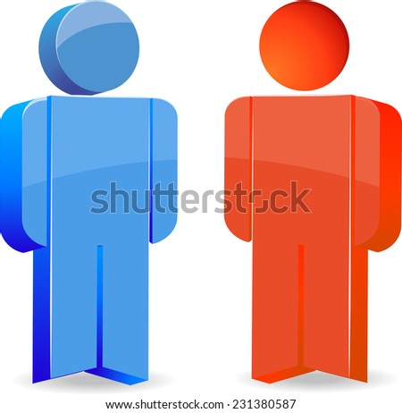 different people conduct conversation (the red and blue person) - stock vector