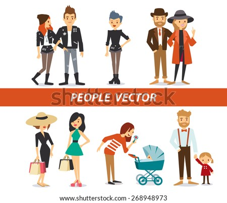 different people, couples and parents - stock vector