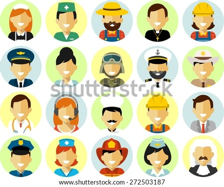 Different people occupation characters avatars set in flat style isolated on white background - stock vector