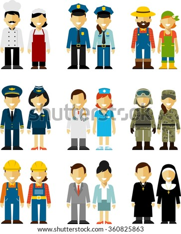 Different people professions occupation characters man and woman set in flat style isolated on white background - stock vector