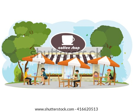 different people relaxing in a cafe in the city park. child eating ice cream. Woman drinking coffee. couple of young people on a date. a man working on a laptop. vector - stock vector