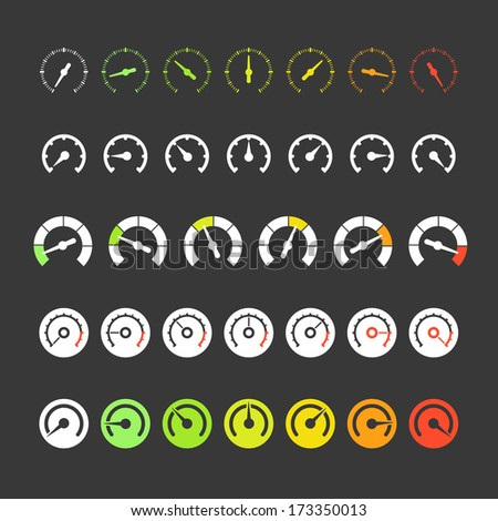 Different phases of speedometer icons - stock vector