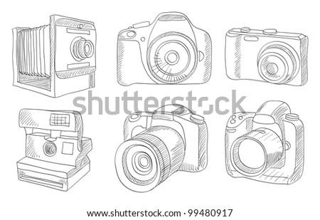 different photo cameras vector set - stock vector