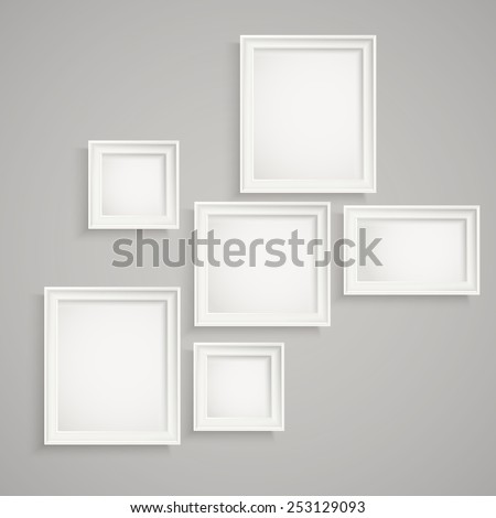 Different picture frames on the wall. Place your text - stock vector