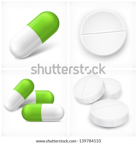 Different pills, tablet and capsule, on white, vector illustration. Vector Illustration. - stock vector