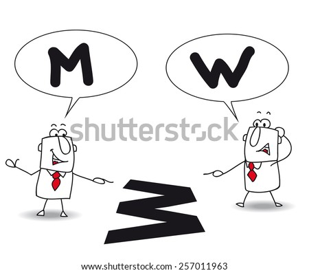 different points of view. Joe and john are right, but their points of view are different. It's for that they are disagree. They don't see the same thing - stock vector
