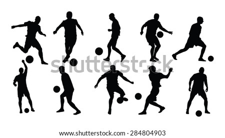 Different poses of soccer players vector silhouette illustration isolated on white background. Football players silhouette. - stock vector