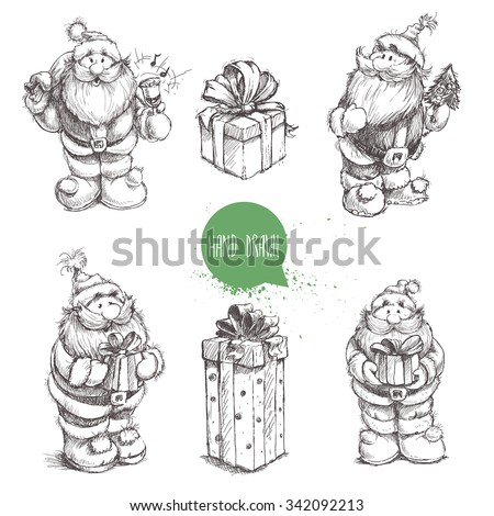 Different poses set of hand drawn Santa Claus and gift boxes. Sketch style creative vector illustration. - stock vector
