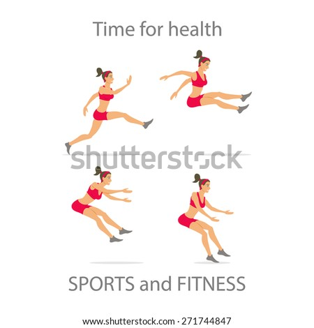 Different poses, sporty dancing girl in red sports pants, black color short hairstyle. Cartoon flat minimalism, kid style character, vector illustration set. - stock vector