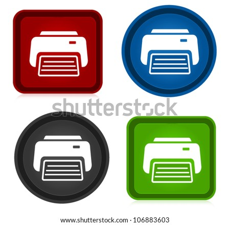 Different Print Icons - stock vector