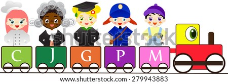 Different professions for kids on colorful train. - stock vector